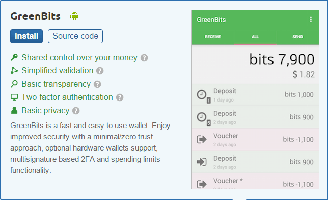 greenbits mobile bitcoin wallet